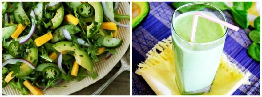 salada e suco de abacate