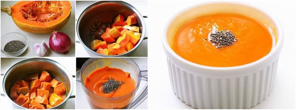 sopa de abóbora e chia