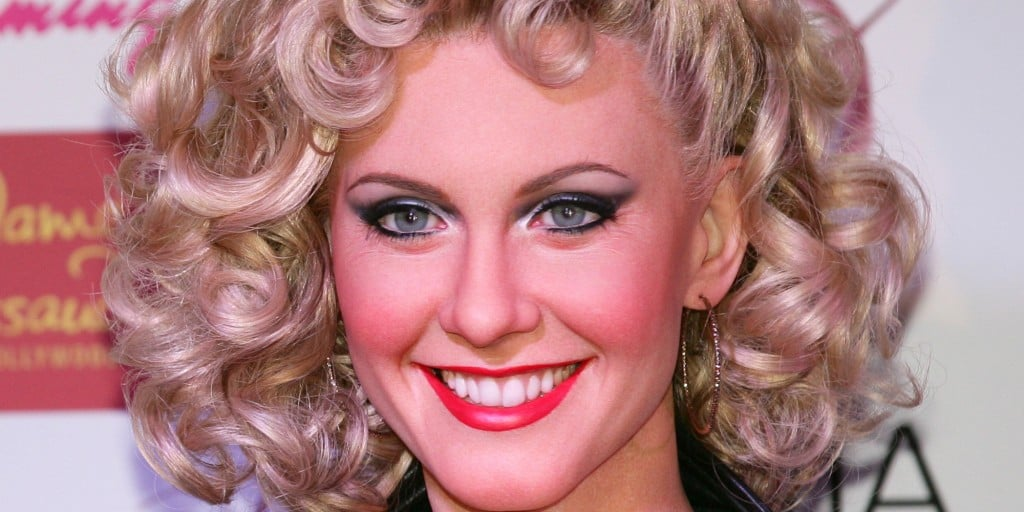 Oliva Newton John Strikes A Pose Side by Side With Her Brand New Madame Tussauds Hollywood Wax Figure at Flamingo Las Vegas 10 Aug 2014