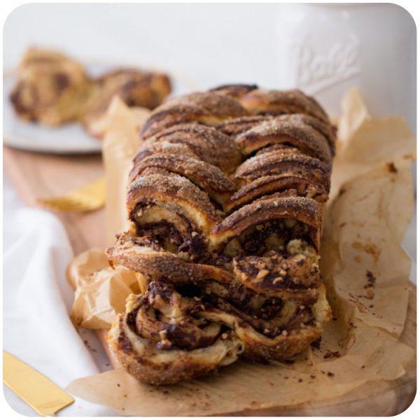 pão de chocolate e avelã