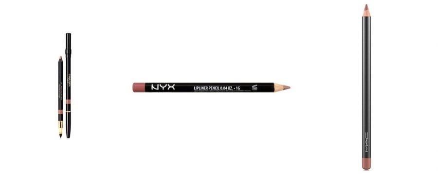 lápis de boca - Chanel - cor 34 natural R$180,00; NYX - cor SPL 810 R$39,00; Mac - cor Spice R$69,00