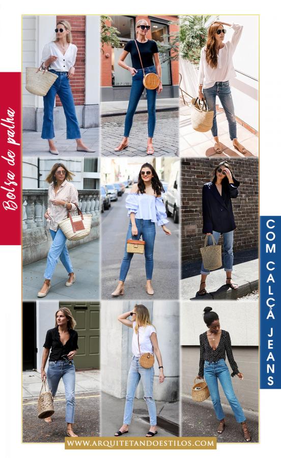 Bolsa de palha com jeans